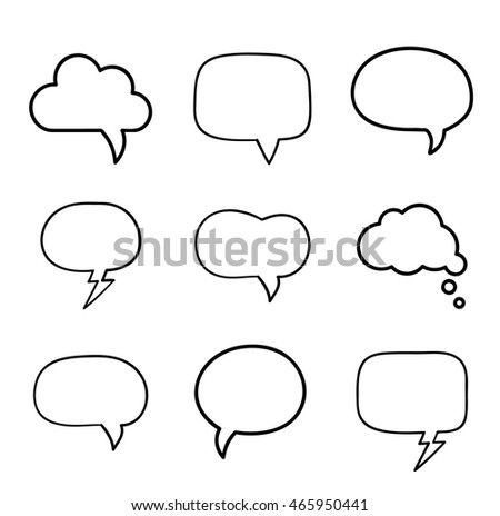 Minimal hand-drawn speech bubbles design elements set