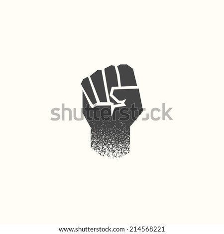 Minimal hand icon, with grunge texture. Flat design. Cartoon style. Black and white. Geometric fist sign. Use for card, poster, brochure, banner, web design. Easy to edit. Vector illustration - EPS10. - stock vector
