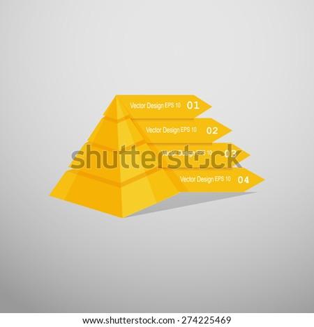 Minimal  info graphics arrows design. Vector pyramid - stock vector