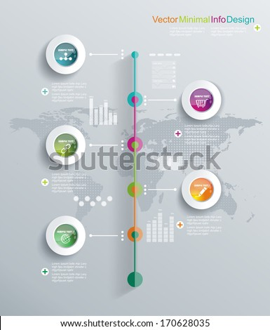Minimal infographics design. Can be used for workflow layout, diagram, web design.  - stock vector