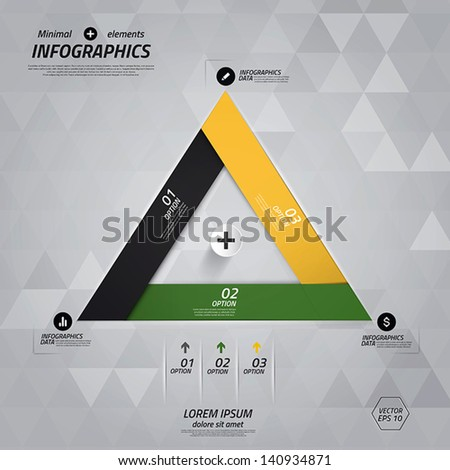 Minimal infographics design. Vector can be used for workflow layout, diagram, number options, web design. - stock vector