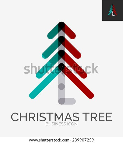 Minimal line design logo, Christmas tree business icon, branding emblem - stock vector