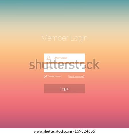 Minimal Login Form Design - stock vector