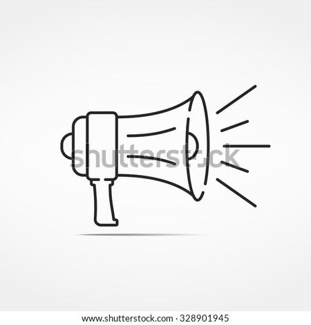 Minimal megaphone line icon, vector eps10 illustration - stock vector