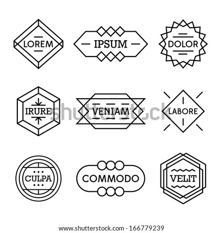 minimal monochrome geometric vintage label  - stock vector