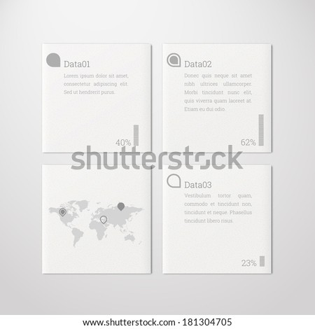 Minimal scalable tile design infographics with map and pins for report, presentation, statistics - white, grey version - stock vector