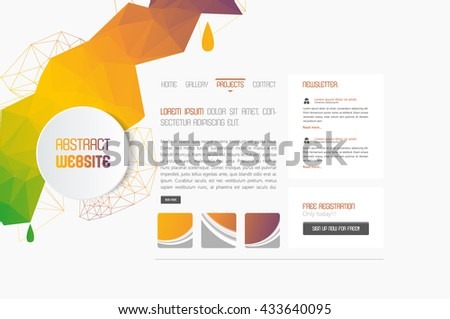 Minimal Simple website template with polygon colorful shapes.  - stock vector