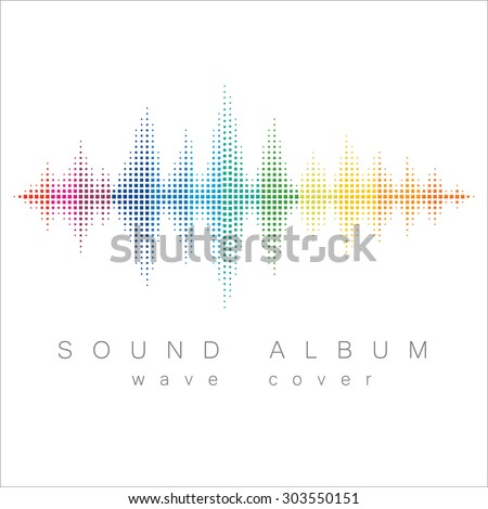 Minimal style rainbow colored sound wave with album cover text. Isolated on white background. - stock vector