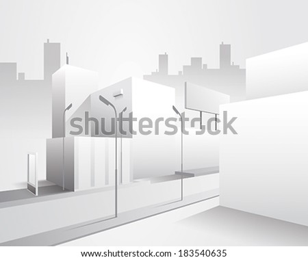Minimal style vector illustration depicting a clean urban scene. Perfect base street view, ready to be filled with color and textures. It would serve for many purposes.  - stock vector
