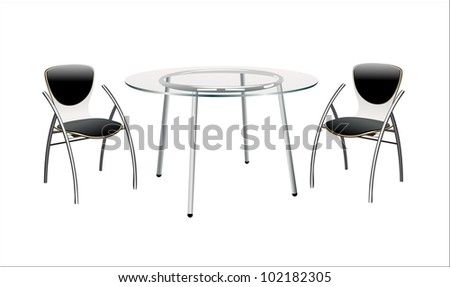 minimal table with chairs - stock vector