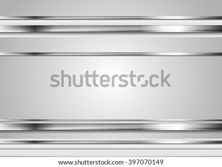 Minimal tech metallic abstract elegant background. Silver metal stripes on grey backdrop. Hi-tech metallic illustration. Metal steel color brochure template