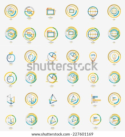 Minimal thin line design web icon set, universal logotypes, stampls and labels - stock vector