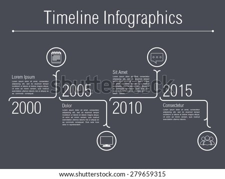 Minimal timeline infographics design template, vector eps10 illustration - stock vector