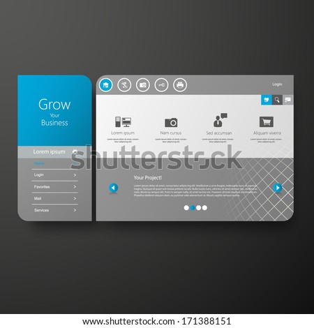 Minimal Website Template Design - stock vector