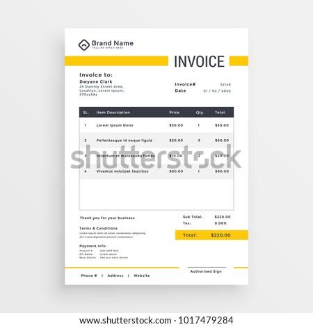 minimal yellow invoice template vector design stock vector 2018