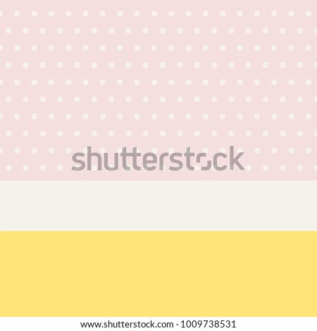 Minimalist background layout in spring colors with polka dots and banner