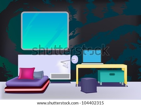 minimalist bedroom, include one violet bed, large window, yellow table, laptop on it, violet chair, cabinet desk lamp