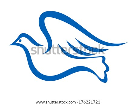 Minimalist blue illustration of a dove flying, symbol of peace and freedom logo, isolated on white background - stock vector