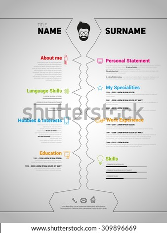 minimalist cv resume template simple design stock vector 309789893