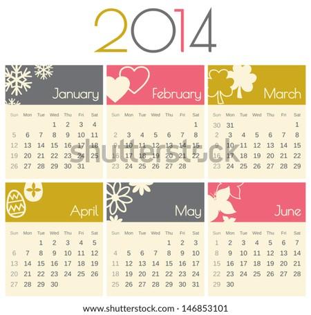 Minimalist design for a 2014 calendar (January to June). - stock vector