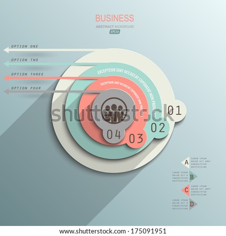 minimalist design infographic on paper style / design element for business presentation - stock vector