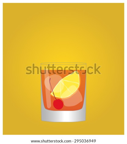 Minimalist Drinks List with Old Fashioned Golden Background EPS10 - stock vector