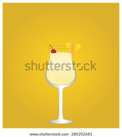 Minimalist Drinks List with Pina Colada Golden Background EPS10 - stock vector