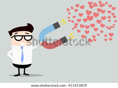 minimalist illustration of a businessman holding a red and blue horseshoe magnet attracting hearts, eps10 vector - stock vector