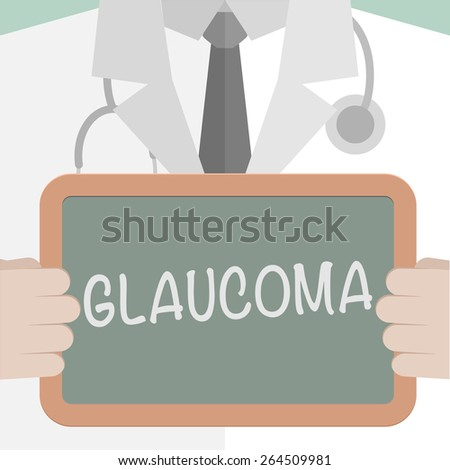 minimalist illustration of a doctor holding a blackboard with Glaucoma text, eps10 vector  - stock vector