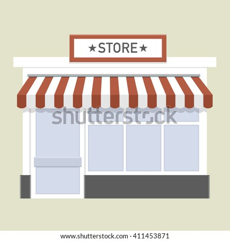 minimalist illustration of a store front, eps10 vector - stock vector