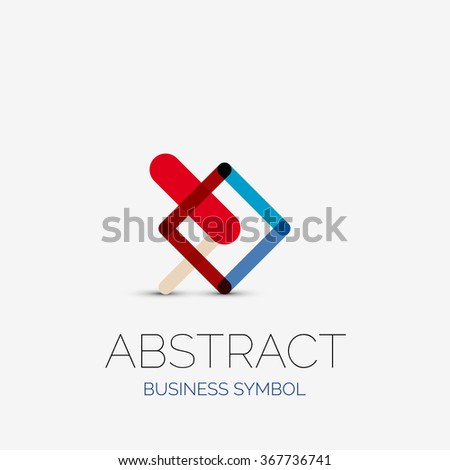 Minimalist Linear Business Icons Logos Made Stock Vector 367736741