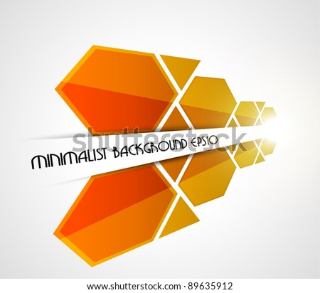 Minimalist perspective orange background. Vector illustration. - stock vector