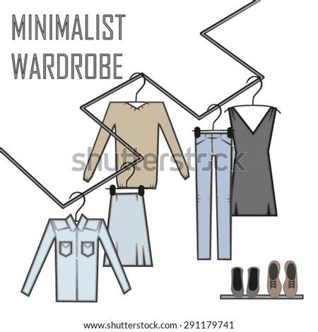 Minimalist wardrobe vector illustration. - stock vector