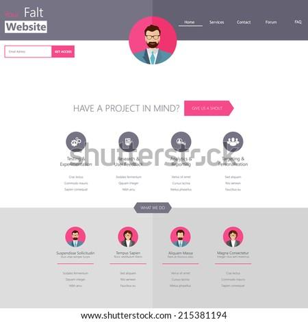 Minimalist Website Template Creative Flat Design Stock Vector - Minimalist website template