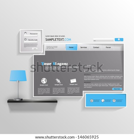 Minimalistic abstract Website template  - stock vector