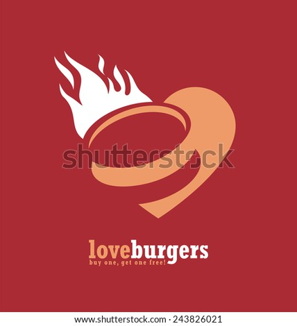 Minimalistic ad design for fast food restaurant. Burger symbol creative concept. Hamburger poster with heart and fire. Simple vector banner with food icon in negative space. - stock vector
