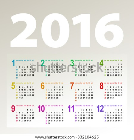 minimalistic bright multicolor 2016 calendar design - week starts with sunday - stock vector