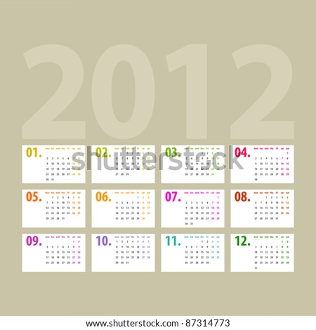 minimalistic 2012 calendar design - week starts with monday - stock vector