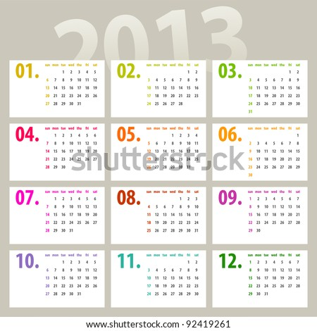 minimalistic 2013 calendar design - week starts with sunday - stock vector