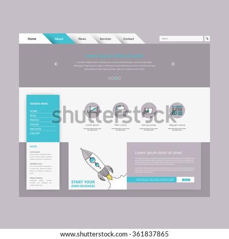 Minimalistic colored creative website template Design - stock vector