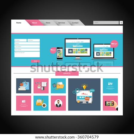 Minimalistic Colorful Business website design template. Vector Design.  - stock vector
