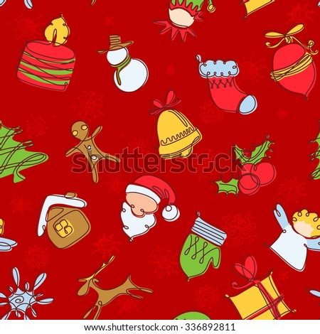 Minimalistic colorful Christmas seamless pattern - stock vector