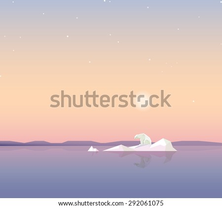 minimalistic contemporary touching global warming concept theme vector illustration wallpaper with lonely polar bear on a melting iceberg - stock vector