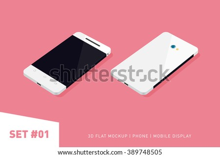 Minimalistic 3d isometric flat illustration of mobile phone. perspective view. Mockup generic smartphone. Template for infographics or presentation UI design - stock vector