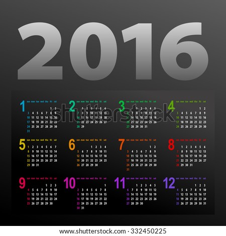 minimalistic dark multicolor 2016 calendar design - week starts with sunday - stock vector