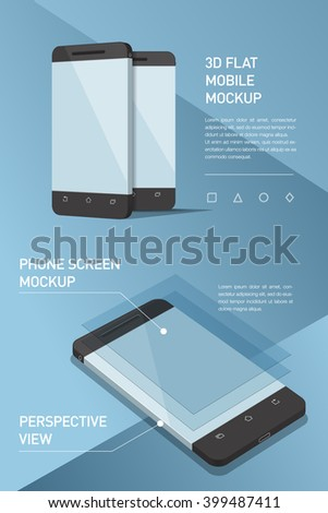 Minimalistic flat illustration of mobile phone. perspective view. Mockup generic smartphone. Template for infographics or presentation UI design. Concepts graphic design, UI, UIX, web banner, print - stock vector