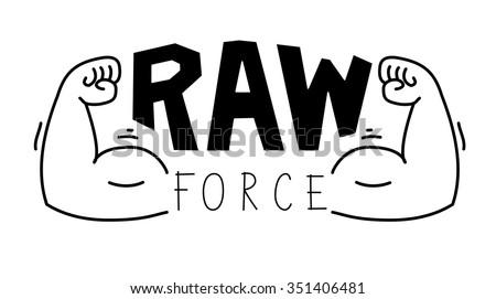 Minimalistic gym, fitness logo. Raw force.Vector illustration - stock vector
