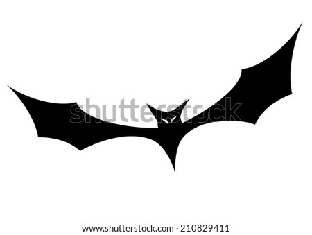 minimalistic illustration of a bat silhouette, eps10 vector - stock vector