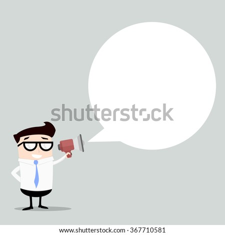 minimalistic illustration of a businessman with a loudspeaker and speechbubble, eps10 vector