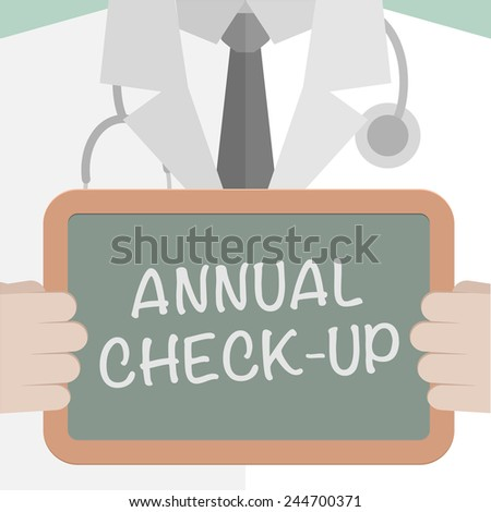 minimalistic illustration of a doctor holding a blackboard with annual check-up text, eps10 vector - stock vector